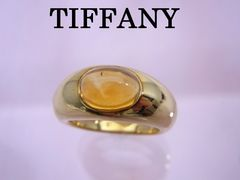 送料無料 Tiffany ティファニー K18YG シトリン リング 8.5号 仕上げ済★dot