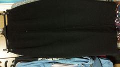 ミセス→黒ロングスカート センタージルコン 着丈83センチ L
