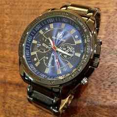 即決・送料無料★ROLEX好きの方に人気♪ガンメタメンズ腕時計・ブルー