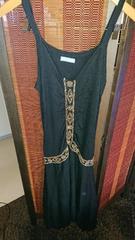 ■冬物美品FREESSHOP黒ビーズ刺繍アジアン裾変形ニットワンピ■