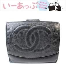 シャネル Wホック財布 2つ折り財布 キャビアスキン 黒v429