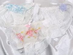 純白ツルツル+white レース+豪華刺繍sexy 大人純白下着3枚(〃ω〃)