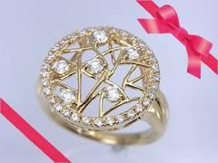 K18YG 透明感あるダイヤモンド デザインリング 12号 仕上げ済 A86★dot