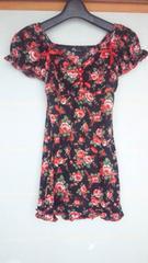 &byP&D 黒×赤 花柄 フレンチ カットソー 38 N2m