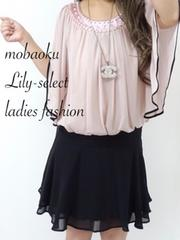 new://pink*パイピングバタフライ袖♪ビジュ付ドレスOp 0511