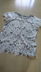 300円スタート おしゃれなレースTシャツ サイズLL