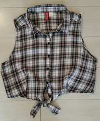 ●H&M●チェック柄 ノースリーブシャツ/size EUR42