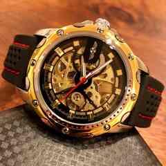 スケルトン☆WINNER スポーティーなメンズ自動巻きラバー腕時計♪黒×金