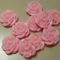 701☆10コ☆薔薇(ピンク)バラ☆お花☆約2.1cm☆プラスチック