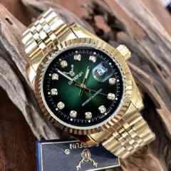 最安値!ロレックスデイトジャストタイプ♪メンズ腕時計・ダークグリーン×ゴールド