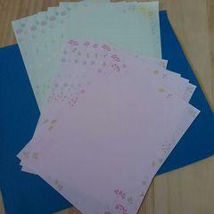 未使用♪バラ売りレターセット♪便せんのみ♪お花柄2色×5枚セット