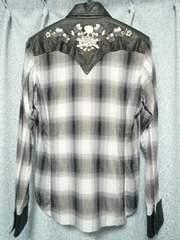 ロエンroen部分鹿革スカル刺繍ウエスタンシャツ