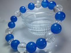 美心-天然石ブレスレット 藍瑪瑙10mm 水晶