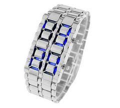バングルLED腕時計 メンズ (シルバーブルー)