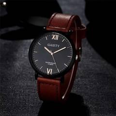 腕時計 ギリシャ文字 メンズ クォーツ レザー ウォッチ 茶色