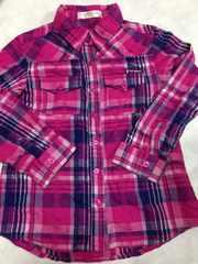 新品★120cm ピンクチェック長袖シャツ