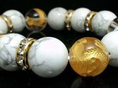 金四神獣水晶§ホワイトターコイズ14ミリ金ロンデル数珠