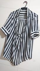 大きいサイズ☆4L☆白×黒★ストライププルオーバーシャツ