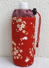 和小物 和柄ペットボトルカバー(ケース・ホルダー) 桜うさぎ赤