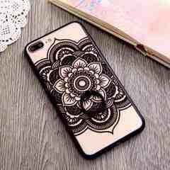 新品 iPhone7 iPhone8用 大きなお花のケース ブラック�F