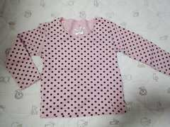 ピンク水玉模様☆長袖Tシャツ(^-^)