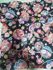 ☆新柄黒×桜牡丹鞠和柄ダボシャツ120