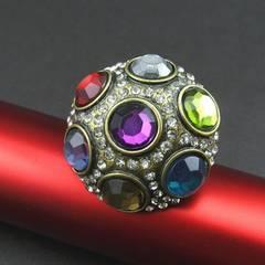新品アンティーク調MIXカラーストーンリング指輪Fサイズ