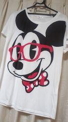 カワイイ伊達メガネミッキーマウスTシャツサイズL 白