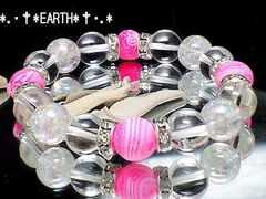 天然石★ピンクファイヤ-アゲ-ト龍紋瑪瑙&アクアクラック&水晶数珠
