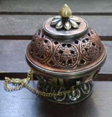 銅製 八吉祥*観音真言香炉  密教法具