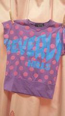 新品◆ドルマンTシャツ◆水玉ドット&ロゴ◆150パープル 紫