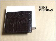 メンズティノラス 本革 クロコ型押レザー 折り財布 ブラウン
