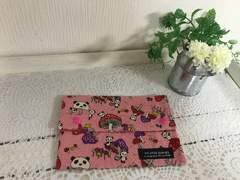 お薬手帳入れ ポーチ ハンドメイド パンダきのこ ピンク