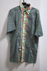 versace 幾何学 花柄 コンビシャツ  ベルサーチ