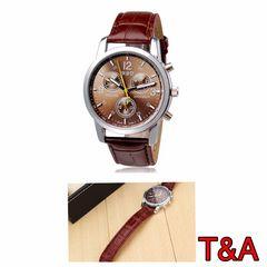 腕時計 時計 アナログ メンズ レザー 革ベルト ウォッチ 茶色