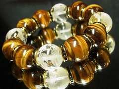 高級オラオラブレスレット!!四神獣水晶×タイガーアイMIX数珠