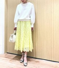 Cheek★落ち感フレアの秋色イエロー総レーススカート