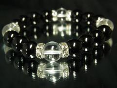 本水晶クリスタル×黒瑪瑙ブラックオニキス数珠ブレスレット!!開運石