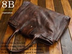 ◆8Bムラ染めシリーズ クロムレザー牛本革 ビジネストート◆C8
