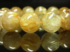 黄金針水晶数珠 タイチンルチルクォーツブレスレット 14ミリ パワーストーン