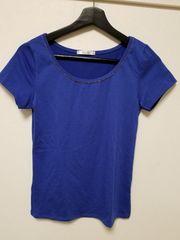 新品◆RecHerie◆胸元ビーズキラキラTシャツ青M