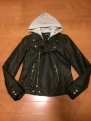 ◆レザー調ジャケット◆フード付◆