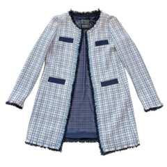 新品ピンコPINKOツイード ロングジャケット ブルー #4