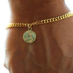 中コイン 3ミリ ゴールド ブレスレット Nカニカン