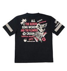 新作/anti/Tシャツ/黒/M/ATT-144/エフ商会/テッドマン/サンサーフ/ハワイアン