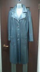 古着屋★アメリカサイズ12大きいサイズ/レザーロングコート牛革