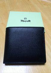 新品 メンズ二つ折れ財布 Marelli マレリ— 濃紺 牛革