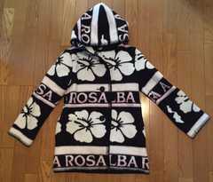 極美品 アルバローザ ブランケットコート ロゴボーダー白黒