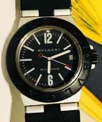 良品ブルガリアルミニウムメンズ時計カーボンAL32TA箱付稼働品