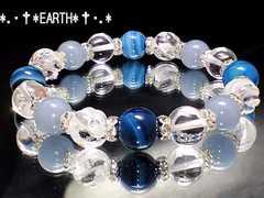 天然石★エンジェライト&ブル-アゲ-ト&水晶&螺旋彫水晶数珠